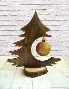 Tree brown Christmas desktop with a Golden ball No. №2 – shop online on Livemaster with shipping
