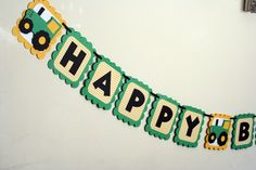 Green & Yellow Tractor Name Banner, Tractor party banner