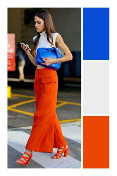 Poppy jumpsuit with white sheer sleeveless button down on top and blue bucket bag Womens Fashion Casual Summer, Office Fashion Women, Womens Fashion For Work, Estilo Color Block, Mode Bcbg, Colour Combinations Fashion, Color Blocking Outfits, Minimalist Fashion Women, Looks Chic