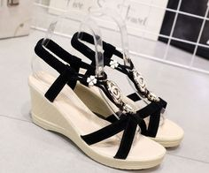 c03b0664128 Cute Jewel Ankle Strap Summer Wedges Cute Wedges Shoes