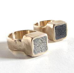 Bague imposante bronze et ciment dans la couleur de votre