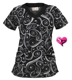 UA Windy Black Scalloped V-Neck Print Scrub