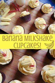 fluffy little cakes swirled with light sweet buttercream icing, laced with the nostalgic flavour of banana milkshake! Milkshake Cupcakes, Banana Milkshake, Nutella Cupcakes, Mocha Cupcakes, Strawberry Cupcakes, Velvet Cupcakes, Vanilla Cupcakes, Milk Shakes, Food Cakes