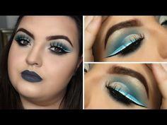 (19) BLUE HALF CUT CREASE WITH TRIPLE EYELINER MAKE UP TUTORIAL - YouTube