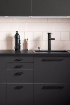 Dark kitchen Ikea - Ikea Just Released the Sleekest Kitchen Cabinets, All Made From Recycled Materials. Backsplash With Dark Cabinets, Black Kitchen Cabinets, Kitchen Cabinet Design, Black Kitchens, Interior Design Kitchen, Kitchen Backsplash, Cool Kitchens, Kitchen Black, Backsplash Ideas