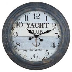 "Brimming with beach-chic style, this rustic wall clock brings a touch of nautical design to your foyer, living room, or bedroom. Product:  Wall clockConstruction Material:  Wood and glassColor:  BlueFeatures: Nautical-inspired designAccommodates:  (1) AA battery  - not includedDimensions:  24"" Diameter"