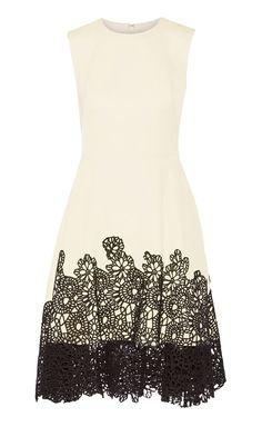 lela rose lace-paneled dress
