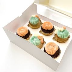 CUPCAKE CARE PACKAGE - TEAL AND PEACH Peach Cupcakes, Yummy Cupcakes, Chocolate Topping, White Chocolate, Swiss Meringue Buttercream, Gift Boxes, Teal, Packaging, Sweet