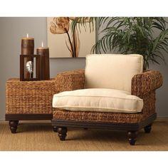 Crafted Home Nehalem Transitional Tan Brown Chair (Nehalem-110SR) (Rattan)