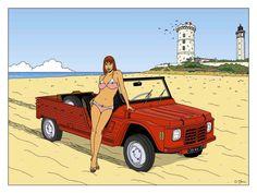 Je viens de réaliser un portfolio sur le thème des voitures de plage avec la Méhari, la 4L Plein Air, le Buggy VW et la Mini Moke.Tirag...