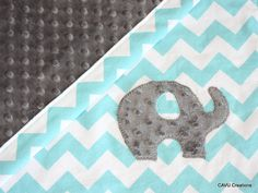 Elephant Aqua Blue Chevron & Gray Minky Baby Blanket by CAVUcreations, $44