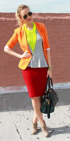 Orange Blazer, Grey Peplum, Oxblood Bordeaux Pencil Skirt, Rebecca Minkoff Teal Bag, Asos Nude Suede Booties, Neon Statement Necklace, Fashion