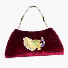 Gorgeous Maroon Velvet & Traditional Peacock Motif Women Hand Made Ethnic Clutch #ArishaKreationCo #Clutch