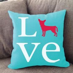 "Our super soft Chihuahua Love pillow is 16"""" x16"""" in size with zipper cover. Printed on both sides. Made in USA. Spot clean."