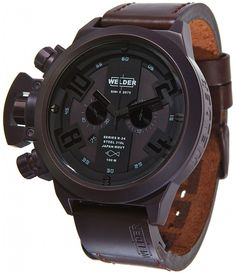 Welder Mens Strap Watch - This Welder by U-boat K24 Chronograph Unisex Brown ion-plated stainless steel watch Model# K-24-3310 / K24 3310 will make a statement! The K24 Series models are beautifully crafted with an attractive construction. This watch features a brushed black ion-plated stainless steel case, Brown...