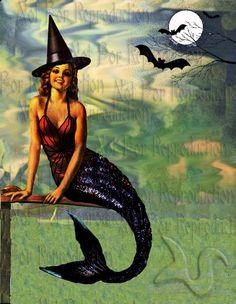 HALLOWEEN FABRIC BLOCKS  PHM3 Halloween Mermaid postcard Fabric by wwwvintagemermaidcom, $7.00