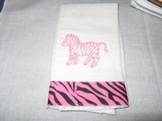 Pink Embroidered Zebra Safari Ribbon Baby Burp Cloth | KallieJosCottonPatch - Children's on ArtFire