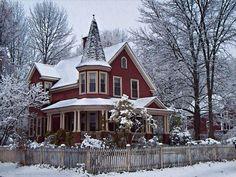 - steampunktendencies:   Snowy Victorian Houses II