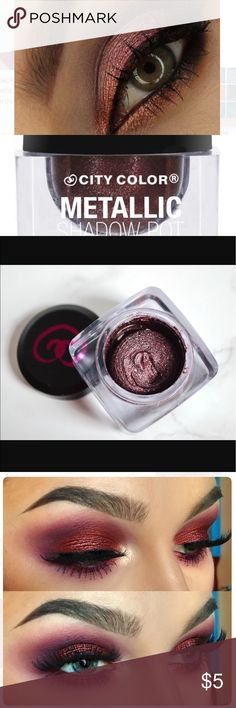 CITY COLOR Metallic Shadow Pot - Nebulla CITY COLOR Metallic Shadow Pot - Nebulla  Metallic Shadow Pots are a thick, yet lightweight cream shadow packed with serious pigmentation. Highly reflective with an iridescent shine, this whipped formula is easy to apply and blends like a dream. Available in six lustrous shades. city Color Makeup Eyeshadow