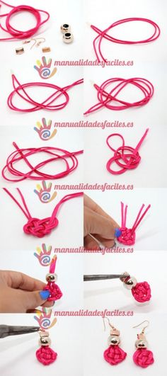 Pendientes nudo de cordón de seda | Manualidades faciles