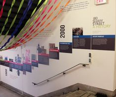 Molly Montgomery of Design Plus, a Debbie Adams company, created a timeline of the history of 180 Shaw Street in west end Toronto. Office Mural, Office Walls, Display Design, Wall Design, Timeline Design, Timeline Ideas, Office Timeline, Creative Office Decor, Industrial Office Design