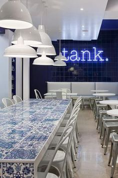 fresh clean turkish blue is perfect foil for a fish and chip shop