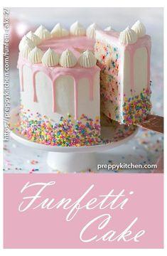 A moist vanilla cake filled with sprinkles, coated in silky Italian buttercream . - A moist vanilla cake filled with sprinkles, coated in silky Italian buttercream and topped with a wh - Funfetti Kuchen, Funfetti Cake, Food Cakes, Cupcake Cakes, Bolo Laura, Italian Buttercream, Buttercream Cake, Moist Vanilla Cake, Vanilla Ganache