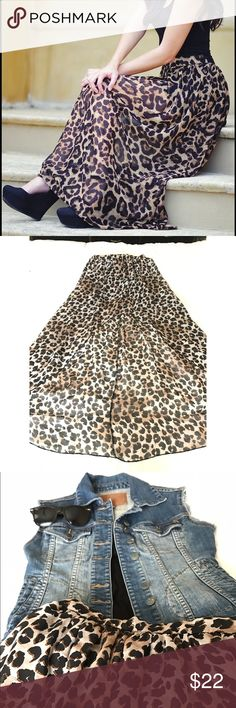 Cheetah High- Low Skirt Cheetah Print has never gone out of style and is still a major fashion piece today! This skirt is super flowy, cute, and complimenting for a casual day. I pair it with a black crop top & jean jacket and some shades. Accessorize as desire! Super comfy and great to have in your closet! Skirts High Low