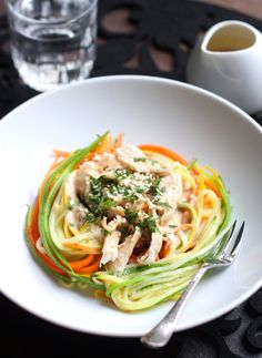 Zucchini Noodles with Chicken and Tangy Peanut Sauce... I would probably replace tofu for the chicken, or just add more veggies!