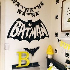 Batman Wall Sticker  www.TopsyTurvyDiaperCake.com - washcloth favors, washcloth animals, diaper cakes, and baby shower gifts