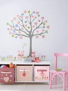 Do this but with our new hello kitty room set garden abkve our shelf using our csnvas storage and books. Wall of girls playroom