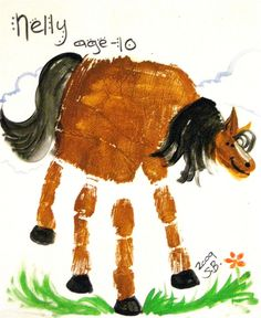 DIY Horse Crafts for kids - hand print horse craft Horse Crafts, Animal Crafts, Toddler Crafts, Preschool Crafts, Letter H Crafts, Crafts To Do, Crafts For Kids, Horse Camp, Horse Party