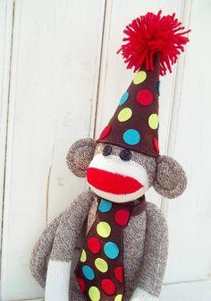 Birthday sock monkey