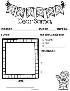Letter to Santa free printable writing activity blackline master