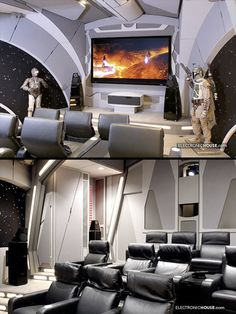 This cool home theater belongs to two Start Wars super-fans Vic Wertz and Lisa Stevens. Walk into the room and follow the backlit floor to either the left or the right. Both paths take you through automated sliding doors.