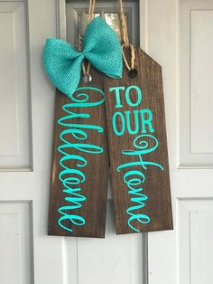 Front Door Tags-Wreaths for Front Door-Front Door Decor-Farmhouse Style-Welcome Wreath for Front Doo - New Deko Sites Welcome Signs Front Door, Wooden Welcome Signs, Front Porch Signs, Welcome Wreath, Front Door Decor, Wreaths For Front Door, Wooden Signs, Wood Tags, Wooden Door Hangers
