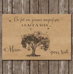 remerciement mariage arbre vintage kraft - Texte De Remerciement Mariage Gratuit