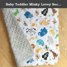 """Baby Toddler Minky Lovey Security Blanket Safari Zoo Animals. These are called Lovies. They are a mini size blanket measuring 17"""" by 17"""". It is designed for baby to use as a small security blanket to carry around, snuggle, cuddle and play with. This is a perfect size for little hands......... It is not intended to be a full size blanket to cover baby for nap time. My one year old granddaughter loves them....... This adorable handmade baby/toddler security blanket features tossed Zoo…"""