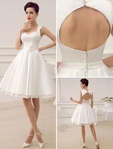 Sweetheart Backless Short Wedding Dress Milanoo