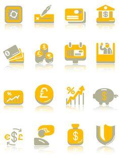 Cute icon vector material financial