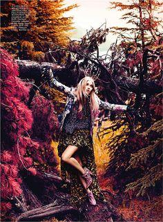 "Flare Magazine: Elsa Hosk in""Nature of Prints"" by photographer Chris Nicholls"
