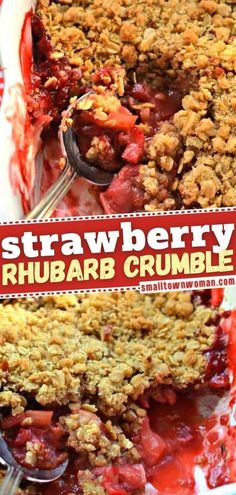 Get ready to sink your spoon into this mouthwatering goodness! Everyone will rave about the sweetness of this strawberry Valentine's Day dessert idea paired with the tart rhubarb and crunchy crumble topping. Don't forget the vanilla ice cream! Save this easy recipe! Strawberry Rhubarb Crumble, Fruit Crumble, Berry Crumble, Crumble Recipe, Crisp Recipe, Crumble Topping, Easy Family Meals, Easy Meals, Family Recipes