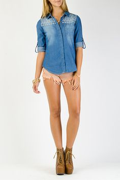 Tribal Embroider Chambray Top $16.99