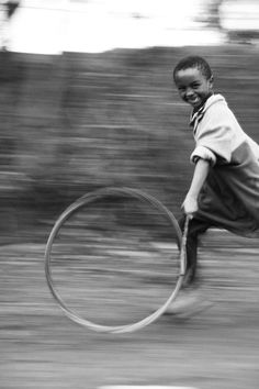 I remember being in South Africa and playing with kids who ran around with wheel rims pushed by a branch, fun fun!