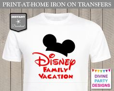 Make matching Disney Family Vacation shirts for your next trip to Disneyland or Disney World. Print on iron on transfer paper and iron on to a plain white t-shirt. Easy and cheap!