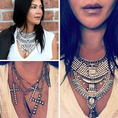 Best Sellers Back in Stock!!  Clockwise:  Denise Necklace  Polly Necklace  Cross & Feather Necklace