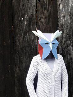 Owl head mask DIY Paper creation. Printable PDF pattern by SmagaPaperwood