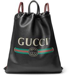 Gucci - Printed Full-Grain Leather Backpack
