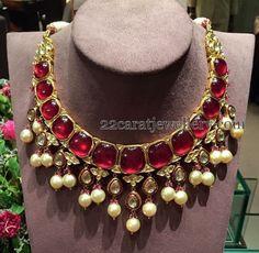 Jewellery Designs: Unique Jadau Ruby Necklace