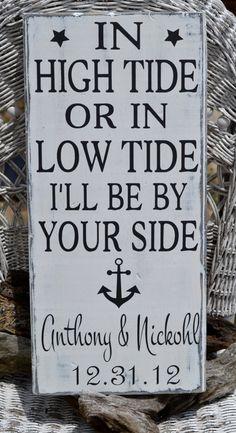 Anchor Decor Beach Sign - Personalized Beach Wedding Gift - In High Tide Or Low Tide #inhightidesign #beachweddinggift
